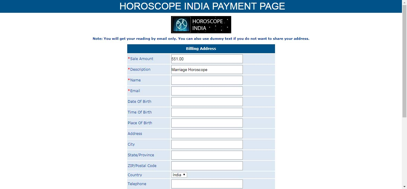 Payment page for horoscope consultation